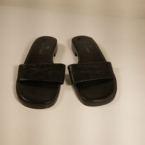 Etienne Aigner ladies black leather slides